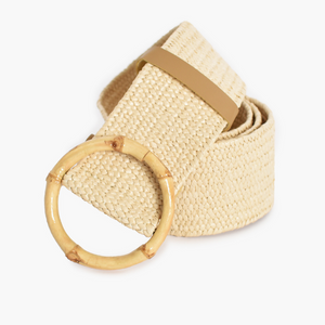 Bamboo Buckle Stretch Belt (Cream)