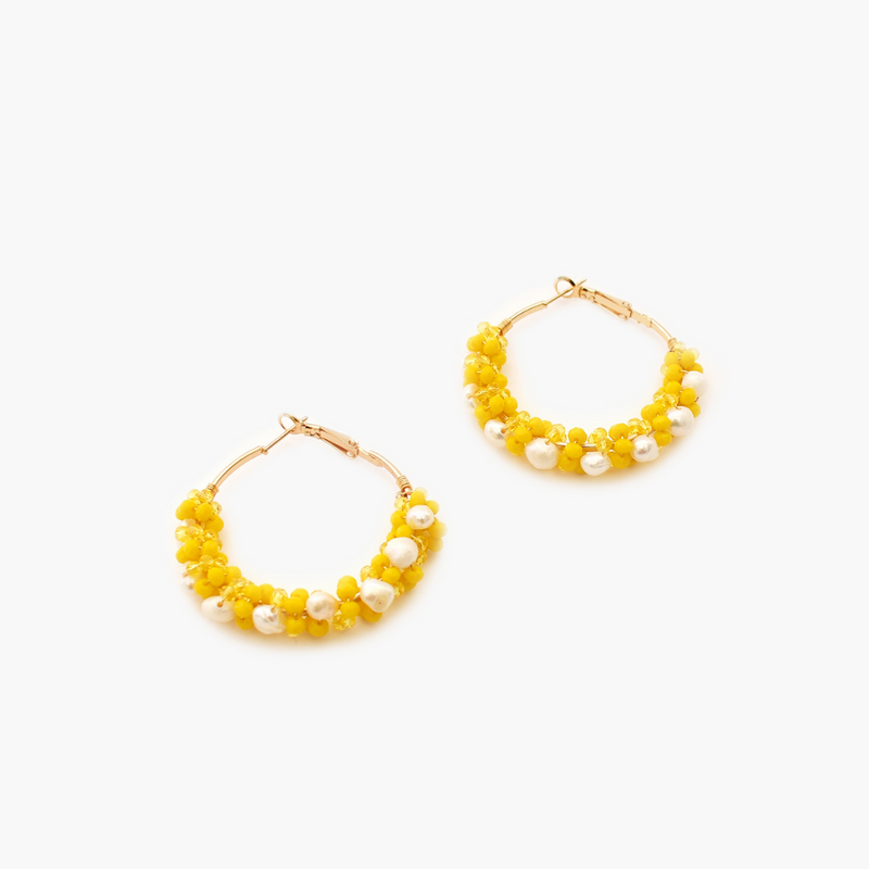 Bead Cluster Hoop Earrings (Yellow)