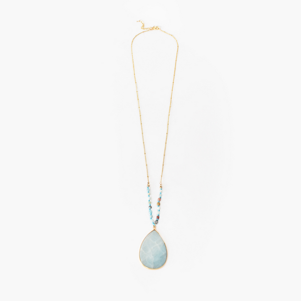 Bead Stone Teardrop Necklace (Mint)