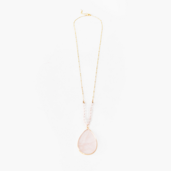 Bead Stone Teardrop Necklace (Pink)