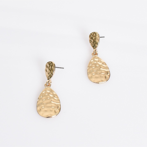 Chrissie Beaten Drop Earrings (Gold)