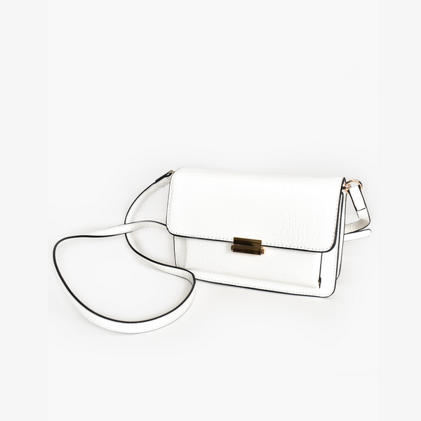 Croc Cross Body Handbag (White)