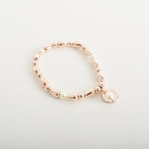 Disc & Pearl Ball Charm Bracelet (Rose Gold)