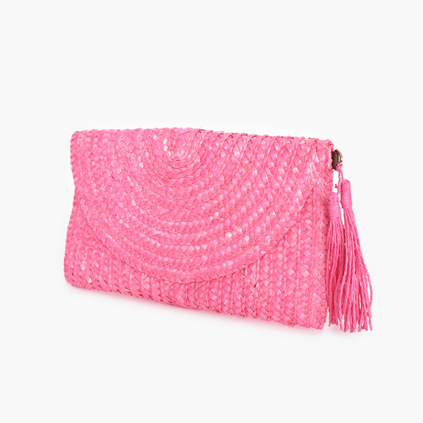 Fold Over Straw Clutch (Pink)