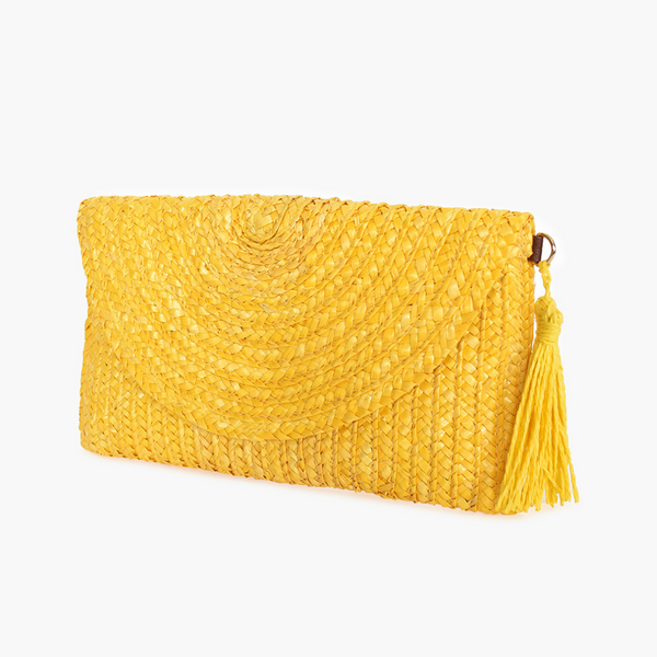 Fold Over Straw Clutch (Yellow)