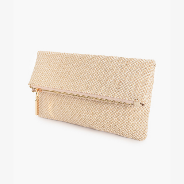 Fold Over Zip Top Woven Clutch (Natural)
