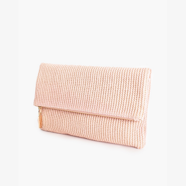 Fold Over Zip Top Woven Clutch (Pink)