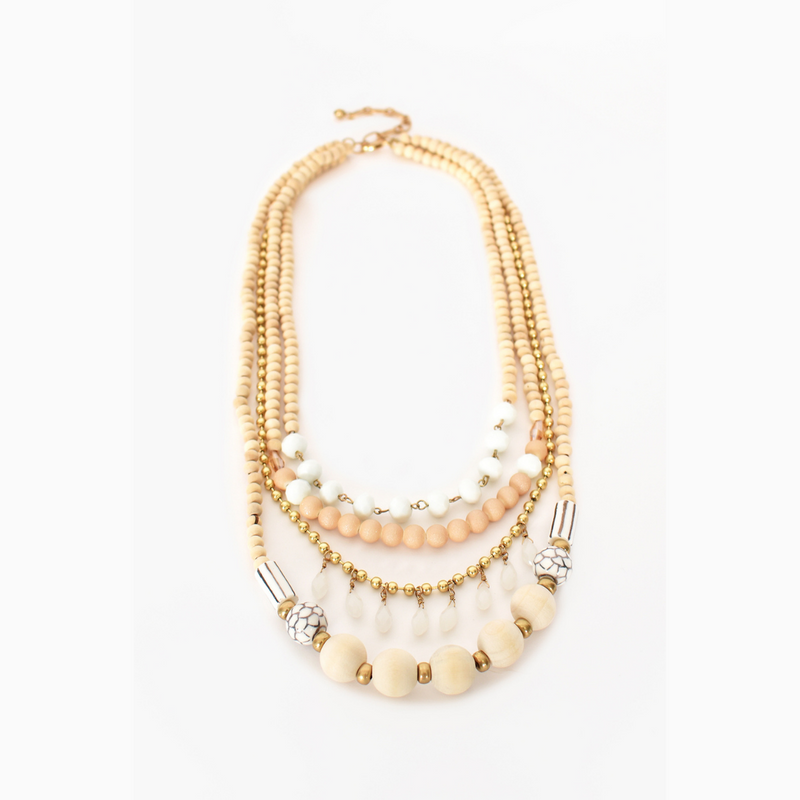 Layered Mixed Bead Necklace (Cream)