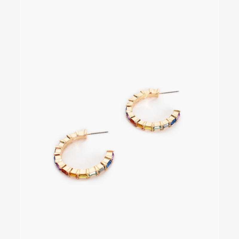 Mini Jewelled Hoop Earrings