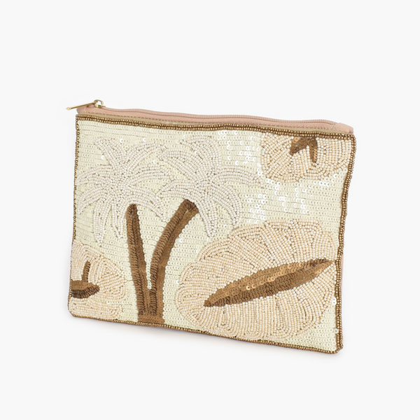 Palm & Leaf Sequin Clutch (Cream/Gold)