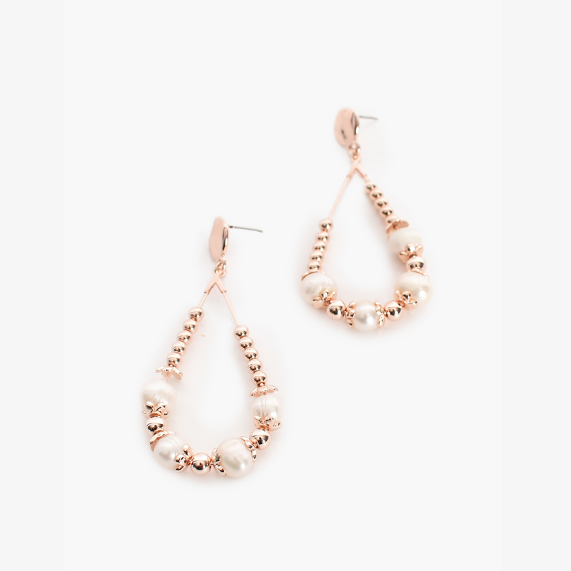 Pearl Bead Teardrop Earrings (Rose Gold)