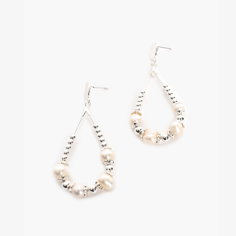 Pearl Bead Teardrop Earrings (Silver)