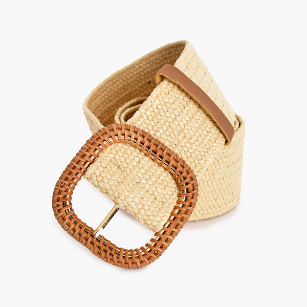 Rattan Buckle Stretch Belt (Cream)