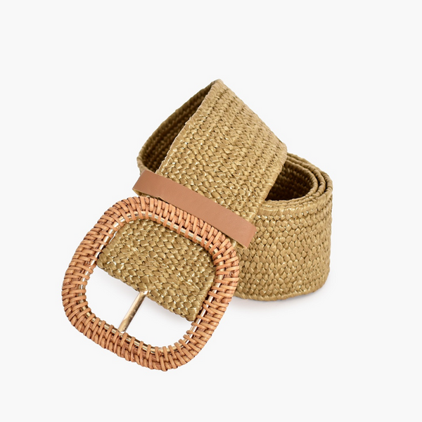 Rattan Buckle Stretch Belt (Natural)