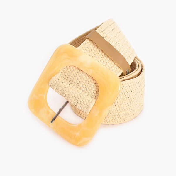 Resin Buckle Stretch Belt (Cream)