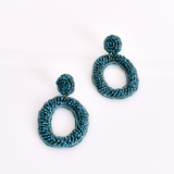 Sol Beaded Oval Earrings (Teal)