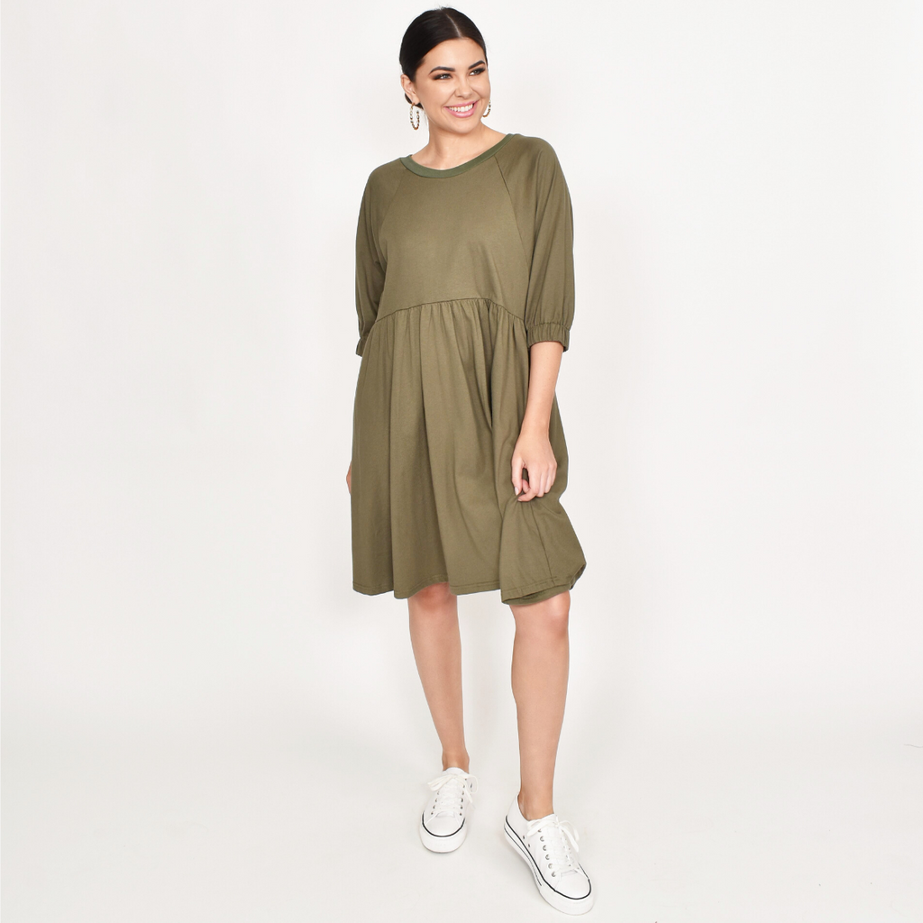 Tilly Jersey Dress (Khaki)