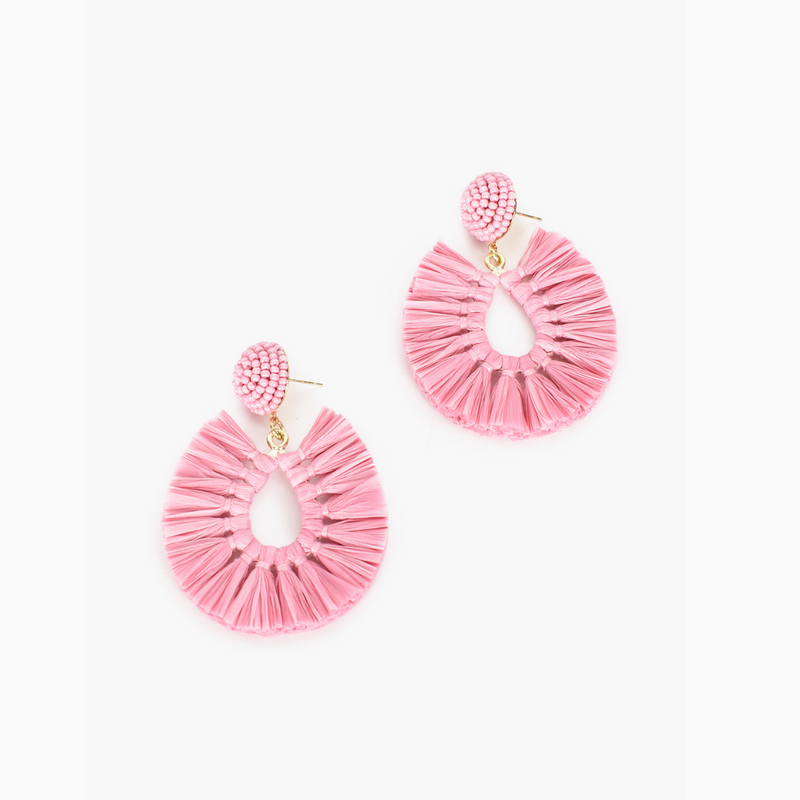 Viva Raffia Earrings (Dusty Pink)