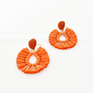 Viva Raffia Earrings (Orange)