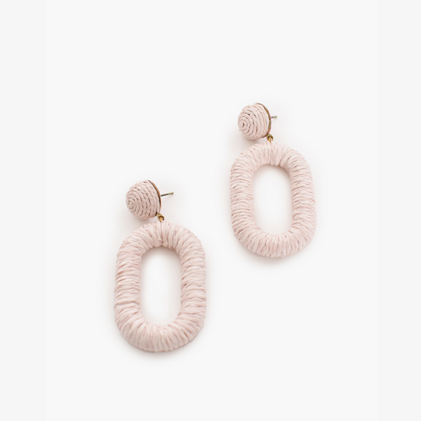 Wound Oval Drop Earrings (Pink)