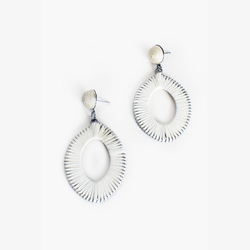 Woven Tear Drop Earrings (White)