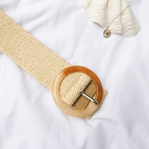 Ombre Resin Buckle Stretch Belt (Cream)