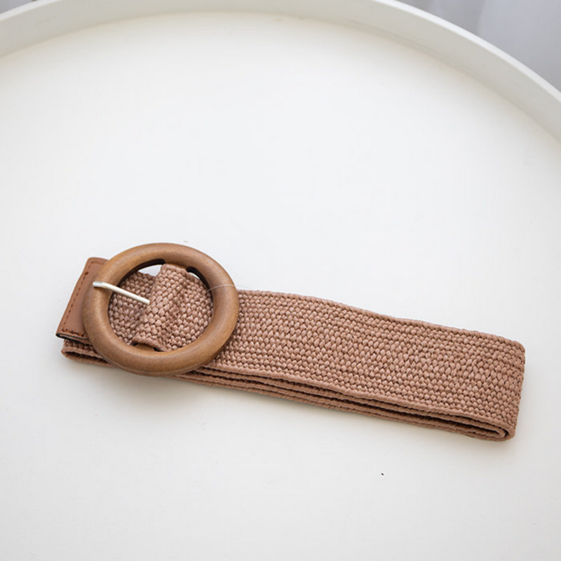 Timber Buckle Stretch Belt (Cocoa)