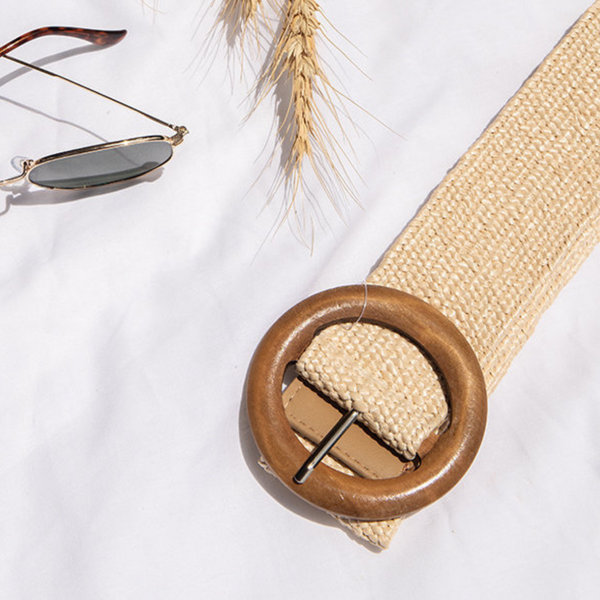 Timber Buckle Stretch Belt (Cream)