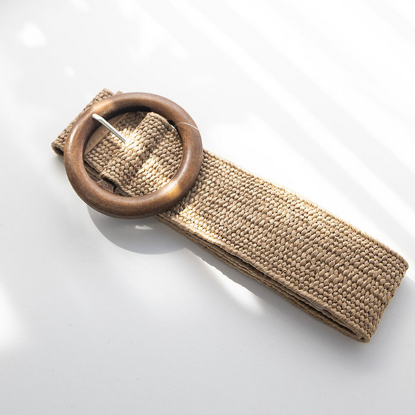 Timber Buckle Stretch Belt (Natural)