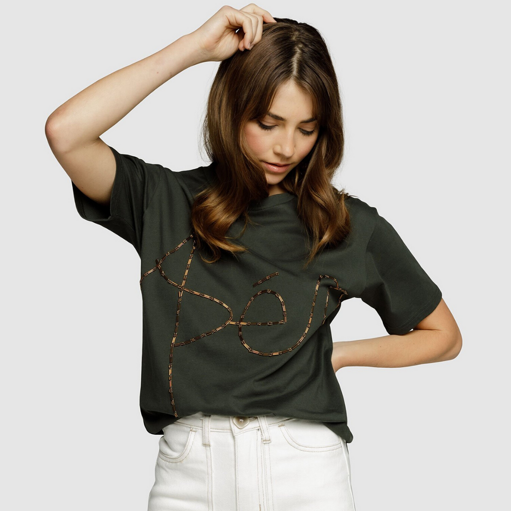 Apero Creation Mixed Bead Tee (Khaki)