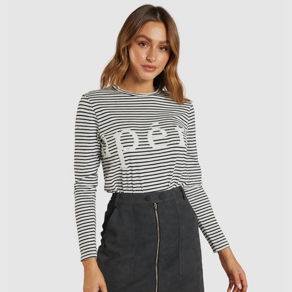 Apero Marcella Beaded Long Sleeve Tee (Black/White Stripe