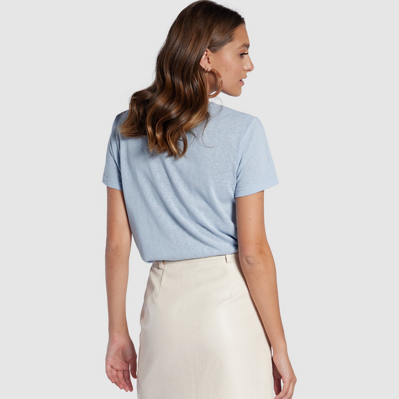 Apero Mini Embroidered Femme Tee (Sky Blue)
