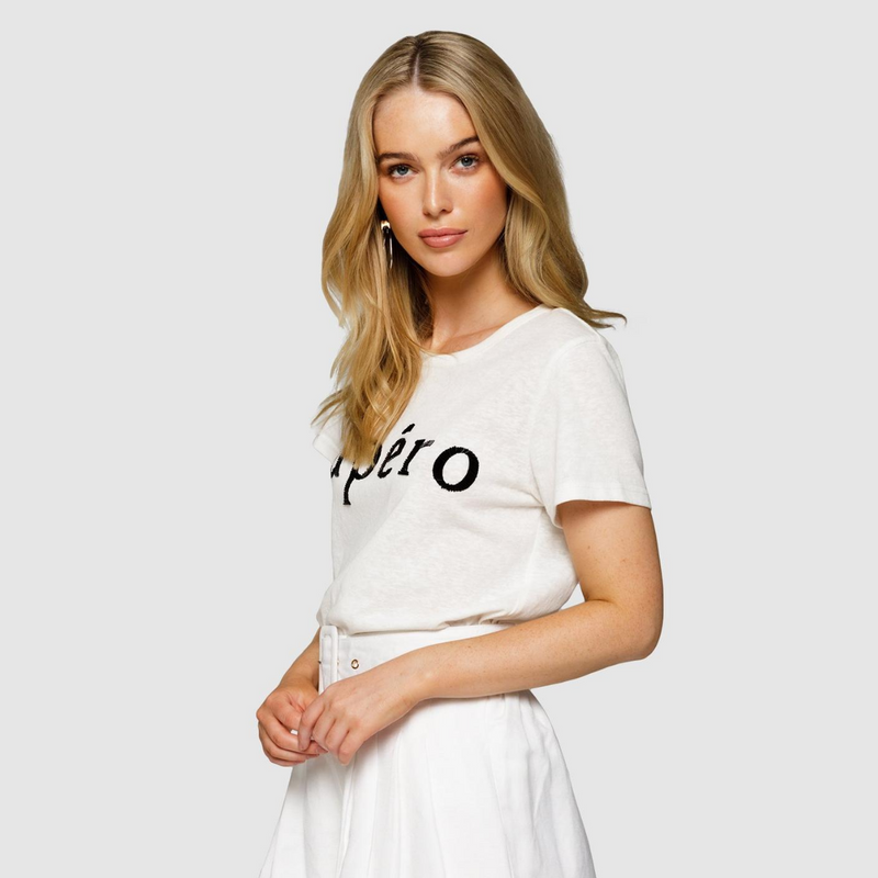 Apero Beaded Femme Tee (White/Black)