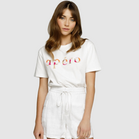 Apero Mixed Bead Tee (White / Multi)