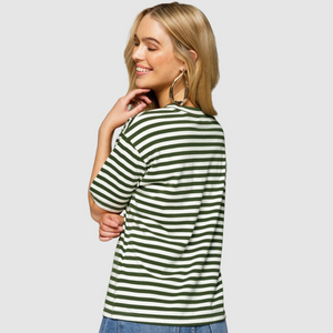 Apero Mondo Stripe Embroidered Tee (Khaki)