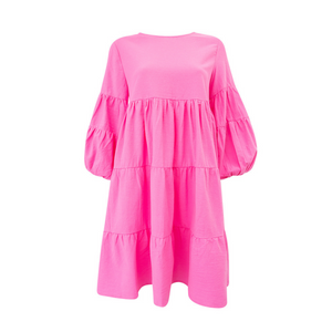 Loco Tiered Dress (Hot Pink)