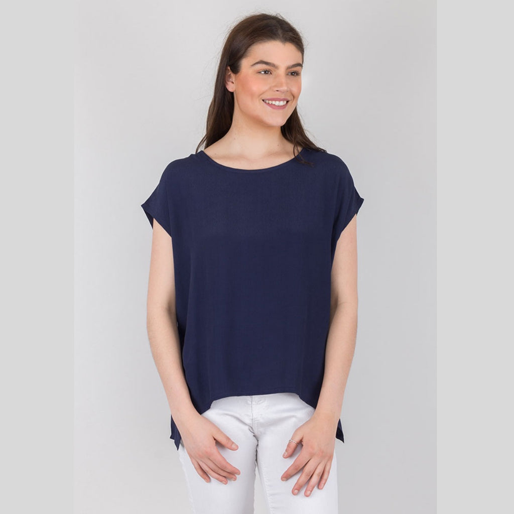 Aluna Drape Top (Navy)