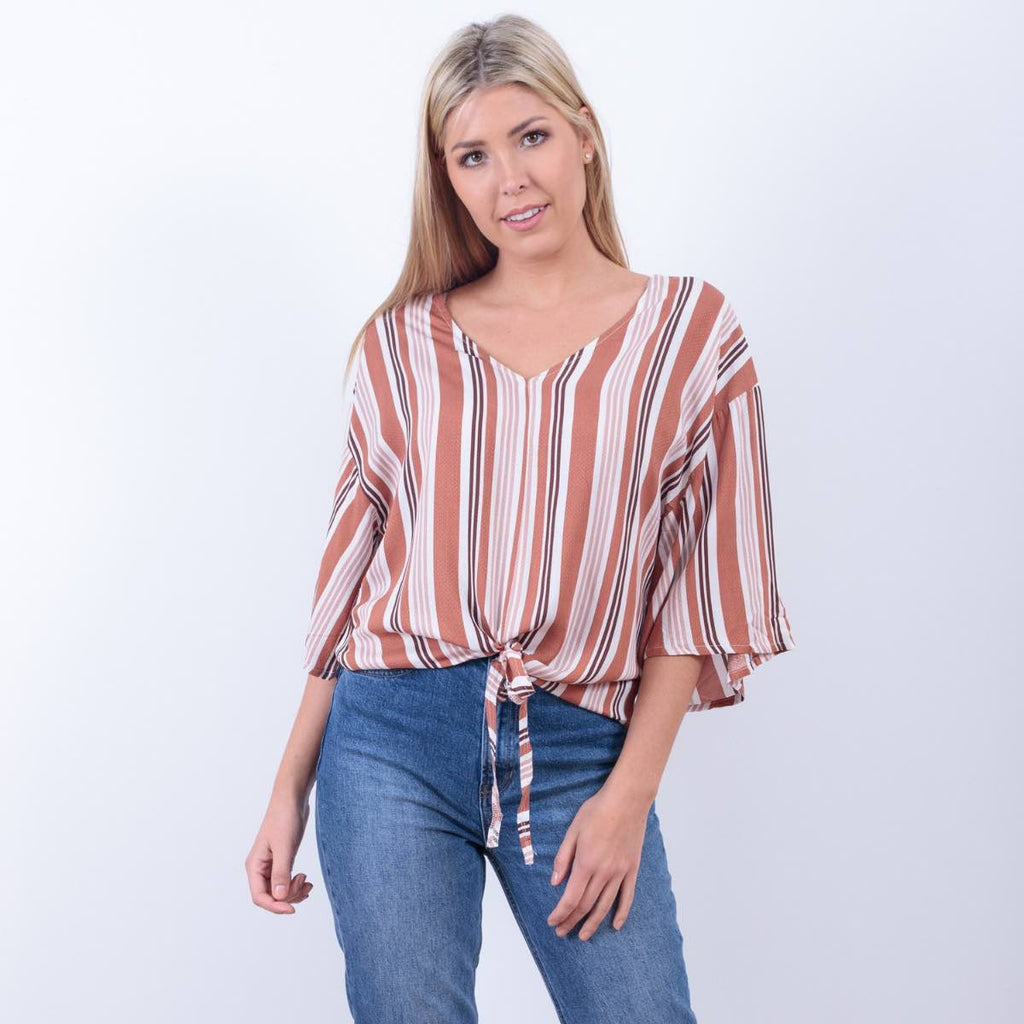 Selena Stripe Tie Front Top (Rust)