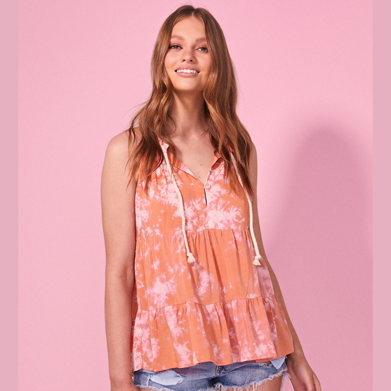 Cartel & Willow Cali Sleeveless Top (Orange Tie Die)