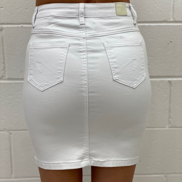 Assia Denim Skirt (White)
