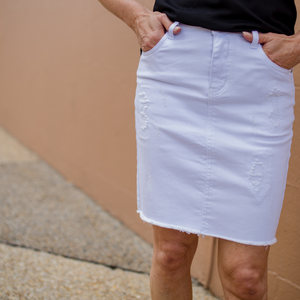 Core Denim Skirt (White)