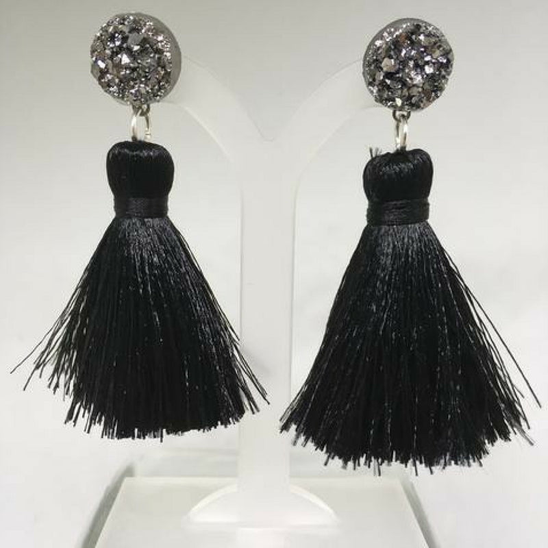 Cannes Tassel Earrings (Black)