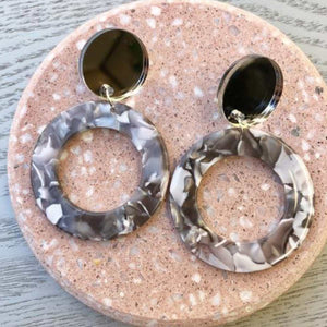 Silver Speckle Hoop Earrings