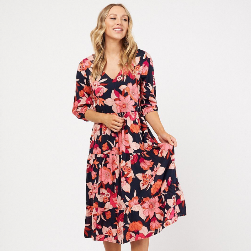 Abbie Midi Dress (Floral)