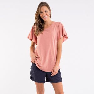 Elm Lucy Flutter Sleeve Tee (Dawn Rose)