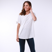 Elm Lucy Flutter Sleeve Tee (White)