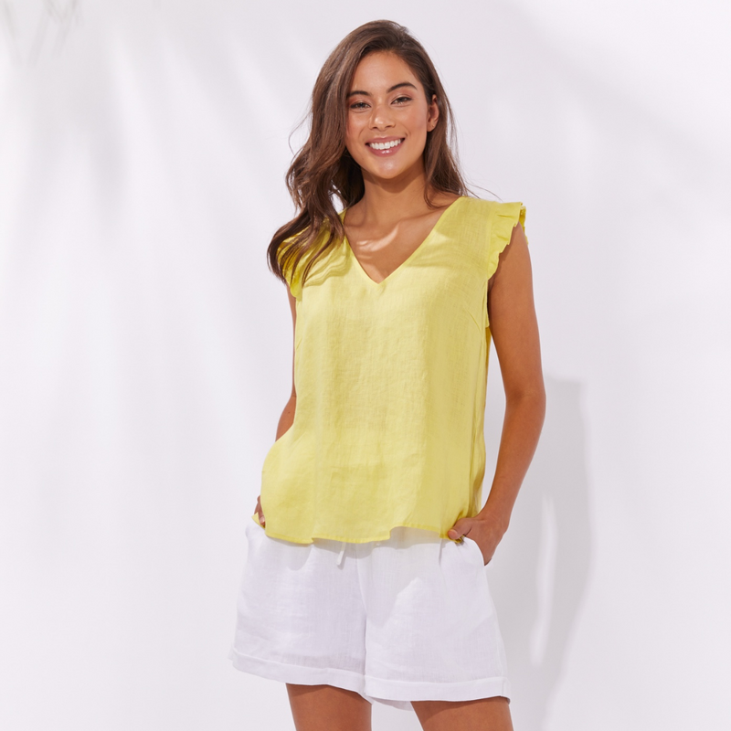 Palma Linen Top (Lemon)