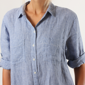 Hut Houndstooth Boyfriend Shirt (Navy)