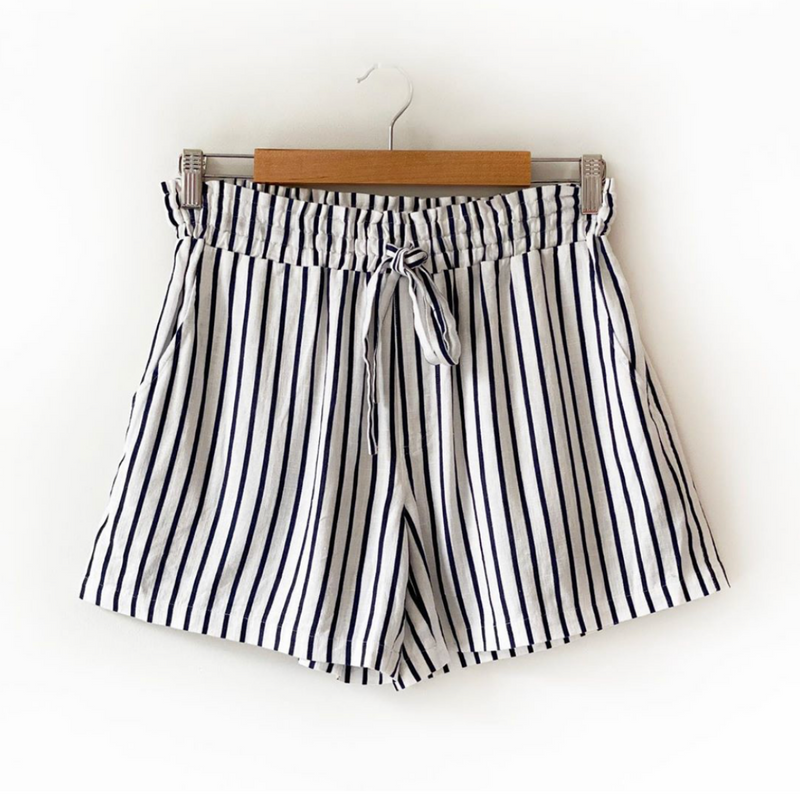 Hut Stripe Linen Shorts (Navy & White)