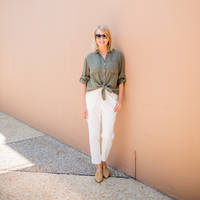Hut Linen Boyfriend Shirt (Fern Green)